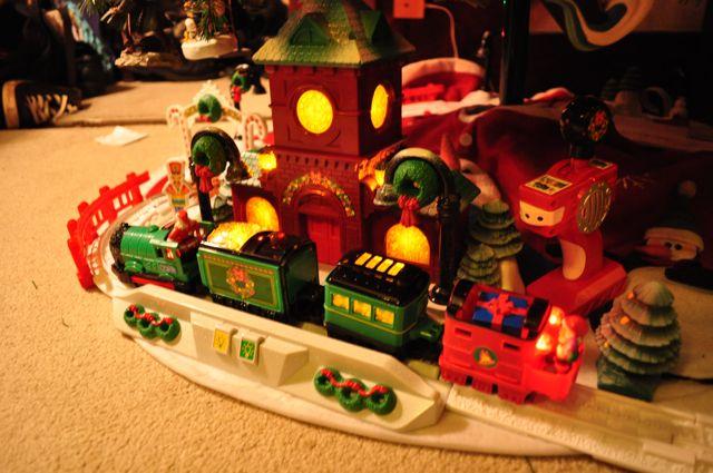 Train Set Around Christmas Tree
