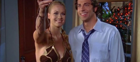 Sarah on Chuck in Slave Girl Outfit